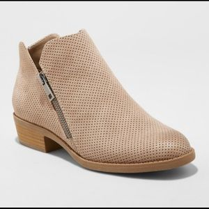 Perforated Ankle Bootie Taupe
